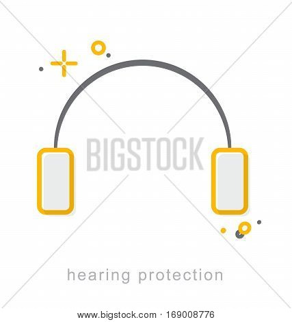 Thin line icons Linear symbols Hearing protection