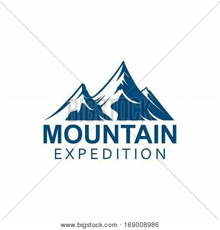 Climbing expedition or mountain alpine climbing sport icon or vector emblem. Alp rocks with snowy peaks Isolated badge for climb extreme adventure, mountaineering winter nature trip or tourist camping, skiing or snowboarding