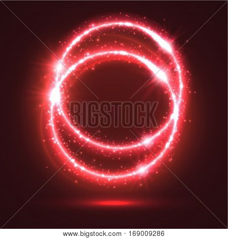 Abstract red light rings or sparkling and shining neon circles with luminous glitter sparks. Magic blur lights and flashes. Shiny shimmering particles of circular star rays and beams with glowing glittering effect
