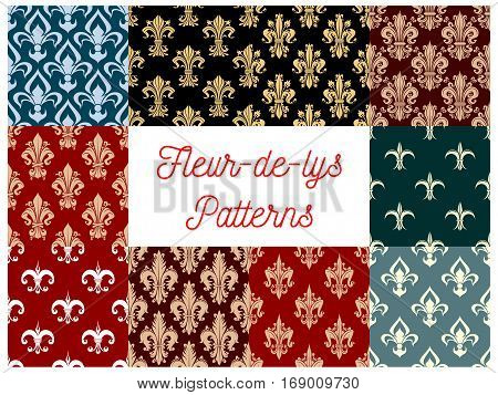 Fleur-de-lis seamless patterns set. Vector royal heraldic french lily floral ornament or flourish tracery and flowery embellishment. Fleur-de-lys backdrop for interior design. Imperial ornate motif tiles