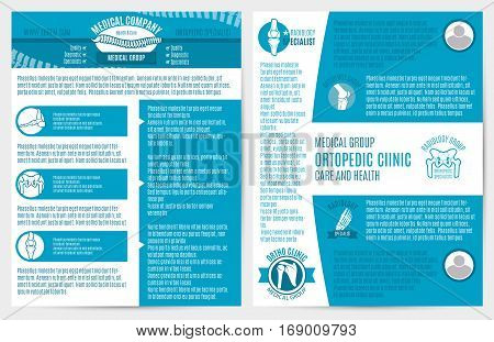 Medical company brochure, flyer template. Orthopedic surgery and radiology medicine symbols with leg, foot, spine, knee, pelvis, shoulder bones and text layout for clinic and diagnostic center design