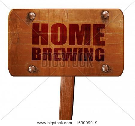 home brewing, 3D rendering, text on wooden sign