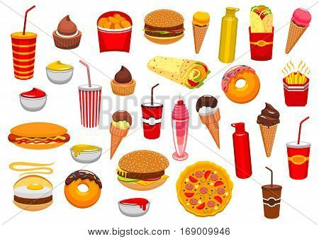 Fast Food snacks icons of cheeseburger burger and pizza, french fries and hot dog sandwich hamburger, gyros burrito or doner kebab, chicken nuggets, ice cream and donut, soda or coffee. Fastfood and sauces vector isolated set for takeaway or delivery
