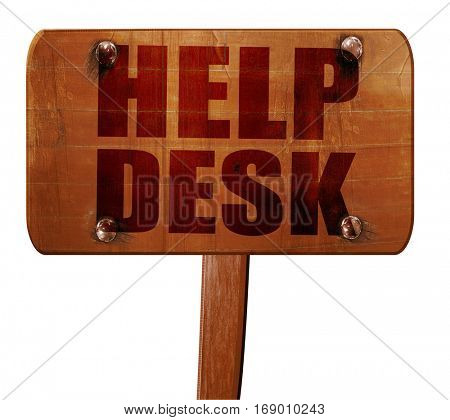Helpdesk, 3D rendering, text on wooden sign