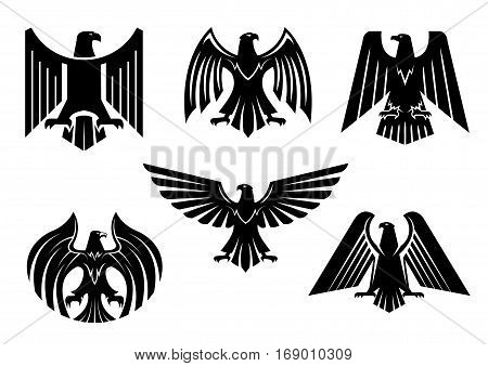 Black heraldic eagle icons set or vulture bird isolated emblem. Royal imperial of gothic predatory griffin badge. Vector blazon or coat of arms with hawk or falcon symbol of power with spread wings, sharp clutches. Military heraldry sign