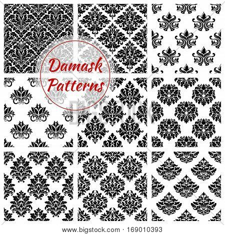 Flowery and floral Damask pattern tiles of seamless flourish ornate tracery and royal luxury ornamental flower and baroque ornament or backdrops of motif adornment and embellishment. Vector design for interior