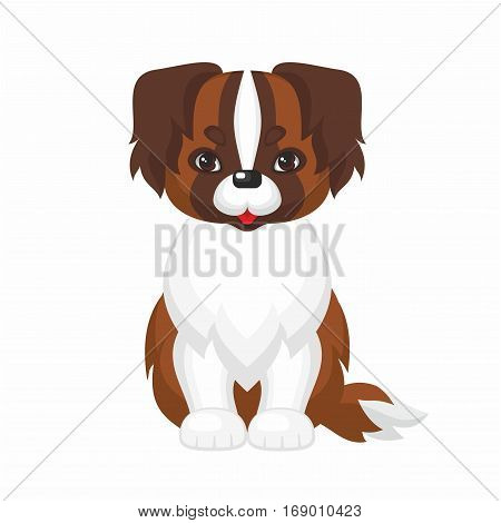 St. Bernard dog. Vector image of a cute purebred dogs in cartoon style.