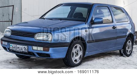 Kazakhstan, Ust-Kamenogorsk, 25 january 2017: Volkswagen Golf III, side view, blue car