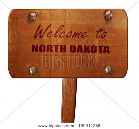 Welcome to north dakota, 3D rendering, text on wooden sign