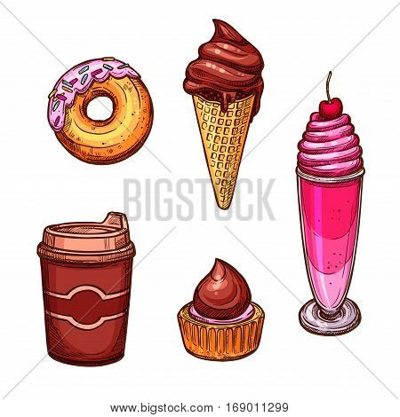 Bakery vector icons of sketched sweets and desserts. Chocolate milkshake with cherry and whipped cream, glazed caramel donut, ice cream in wafer cone, cupcake and coffee cup for cafeteria, cafe, baker shop or patisserie and confectionery