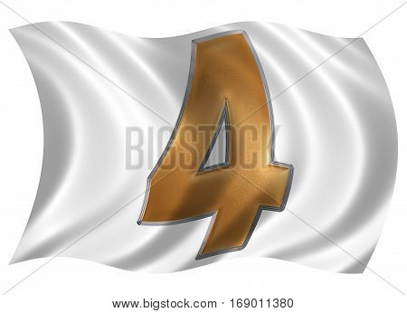 In The Wind Fluttering The Flag With Numeral 4, Four, Isolated On White Background, 3D Render