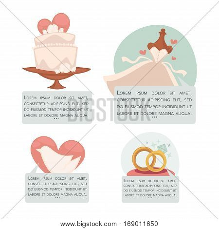 Save the date vector invitation or greeting card templates with wedding cake and dress, gold rings and dove on pink heart. Vector illustrations set for engagement or marriage and bridal event