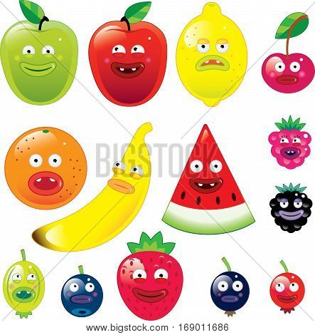 Vector illustration of Fruits with funny faces isolated on white