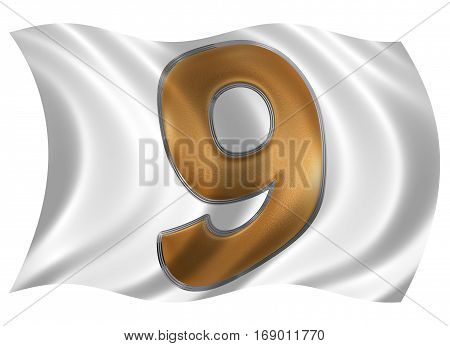 In The Wind Fluttering The Flag With Numeral 9, Nine, Isolated On White Background, 3D Render