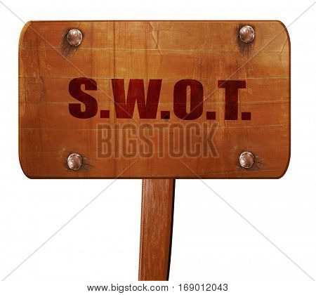 swot, 3D rendering, text on wooden sign
