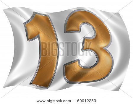In The Wind Fluttering The Flag With Numeral 13, Thirteen, Isolated On White Background, 3D Render