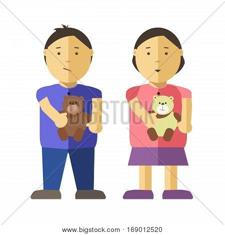 Girl and boy children or kids flat illustration. Vector isolated characters of asian or caucasian female and male young infant or child persons or with bear or puppy toys