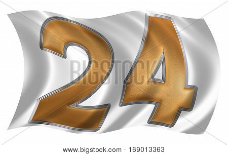 In The Wind Fluttering The Flag With Numeral 24, Twenty Four, Isolated On White Background, 3D Rende