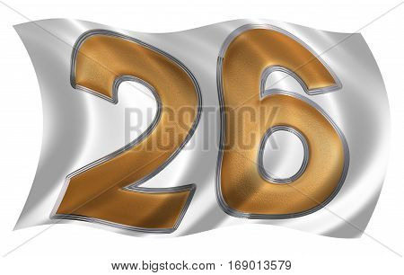 In The Wind Fluttering The Flag With Numeral 26, Twenty Six, Isolated On White Background, 3D Render