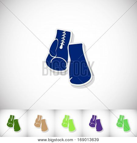 Boxing gloves. Flat sticker with shadow on white background. Vector illustration