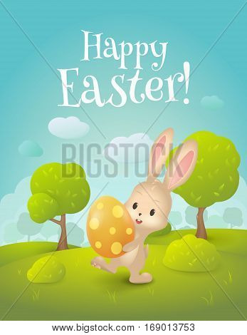 "Vector greeting card with title ""Happy Easter!"". Cartoon spring scene with cute bunny and egg in field. Holiday background with  trees, grass, bushes and place for text."