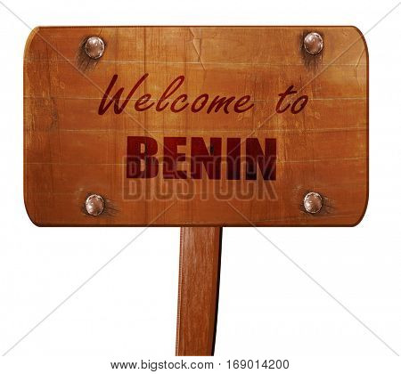 Welcome to benin, 3D rendering, text on wooden sign