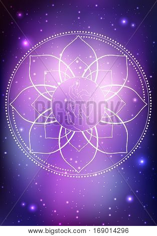 Vector illustration of a hand of Buddha and frame of lotus on the cosmic background. Vector element for your creativity