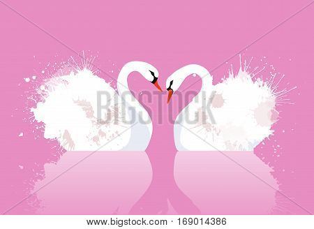 Vector illustration of a pair of swans with watercolor splashes. Love. Vector element for your creativity