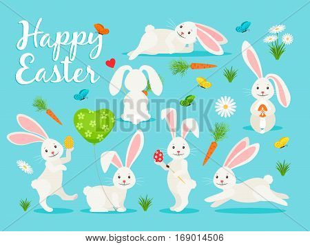 Eastern bunny vector illustration. Happy rabbit for easter banner collection