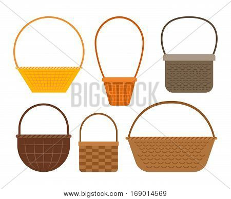 Empty baskets isolated on white background. Osier wicker picnic vector basket set