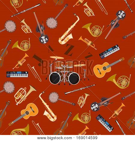 Vector seamless pattern with jazz music instruments.