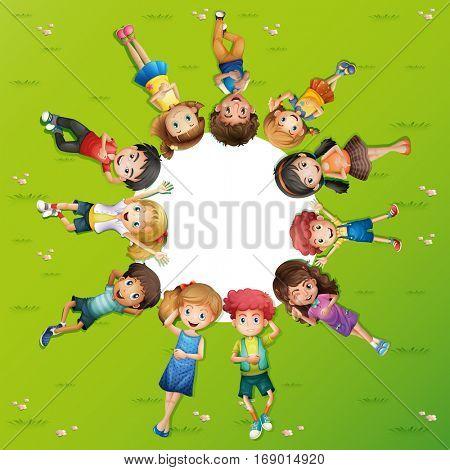 Boys and girls lying on grass illustration