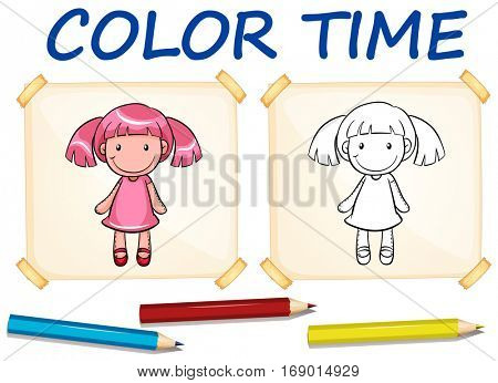 Coloring template with cute doll illustration