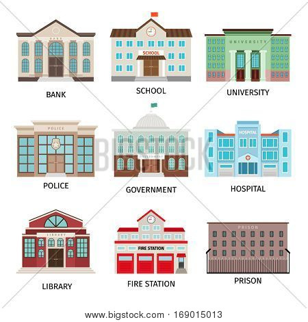 Government building colored icons isolated on white background. Bank and fire office, university and library vector illustration