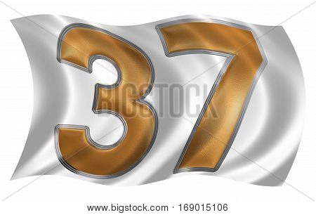 In The Wind Fluttering The Flag With Numeral 37, Thirty Seven, Isolated On White Background, 3D Rend