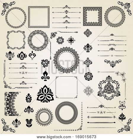 Vintage big set of classic elements. Different vector elements for decoration and design frames, cards, menus, backgrounds and monograms. Classic patterns. Set of vintage patterns
