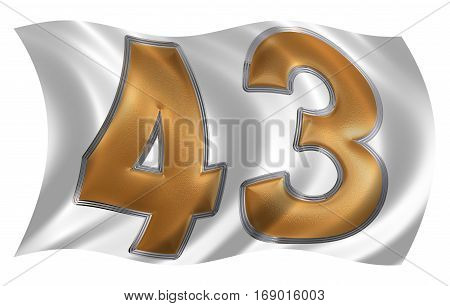 In The Wind Fluttering The Flag With Numeral 43, Forty Three, Isolated On White Background, 3D Rende