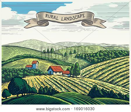 Rural landscape in graphical style, imitating the engraving. Hand drawn and converted to vector Illustration.