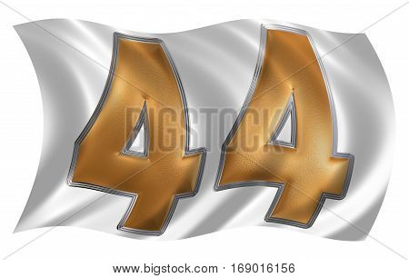 In The Wind Fluttering The Flag With Numeral 44, Forty Four, Isolated On White Background, 3D Render