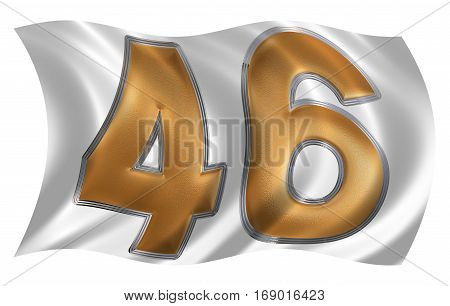 In The Wind Fluttering The Flag With Numeral 46, Forty Six, Isolated On White Background, 3D Render