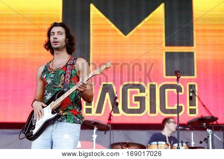 LAS VEGAS-SEP 20: Singer Nasri of the musical group Magic! performs in concert at the 2014 iHeartRadio Music Festival Village Show at MGM Resorts Village on September 20, 2014 in Las Vegas, Nevada.