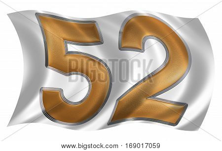 In The Wind Fluttering The Flag With Numeral 52, Fifty Two, Isolated On White Background, 3D Render
