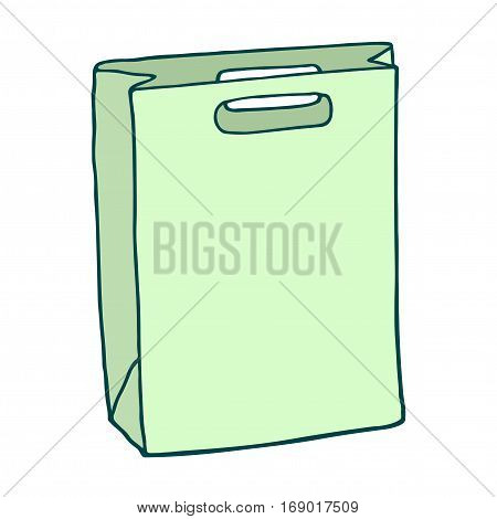 Green rectangle shopping bag. Vector drawing. Isolated object on white backgrond.