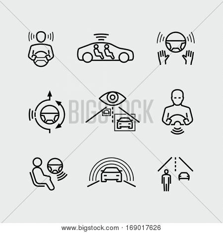 Driverless autonomous car vector icons