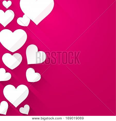 Valentine pink background with white hearts. Vector paper illustration.