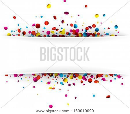 Festive white background with colorful glossy confetti. Vector paper illustration.