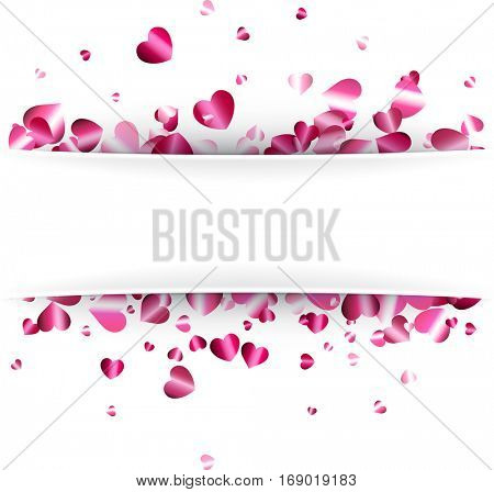 White love valentine's background with glossy pink hearts. Vector paper illustration.