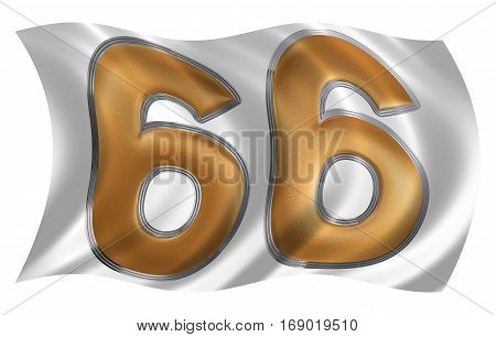 In The Wind Fluttering The Flag With Numeral 66, Sixty Six, Isolated On White Background, 3D Render