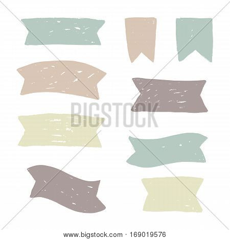Set of grunge textured ribbons. Vector hand drawn illustration
