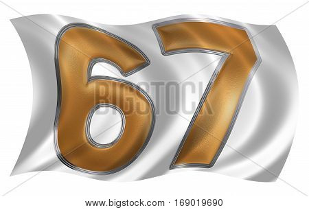 In The Wind Fluttering The Flag With Numeral 67, Sixty Seven, Isolated On White Background, 3D Rende